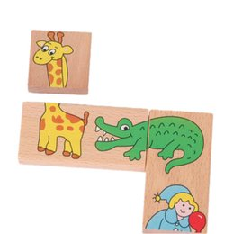 Wholesale Animal Dominoes - Baby Toys Child Animal Domino 15Pcs Building Blocks Wooden Toys Beech Wood Infant Domino Educational Toys Child Birthday Gift