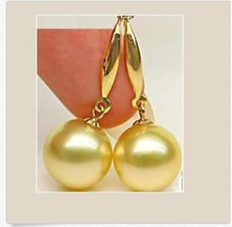Wholesale white south sea pearl earrings - WHOLESALE Huge AAAA+ 16mm GOLD South Sea Shell Pearl 14K Gold Earrings