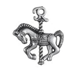 Wholesale Wholesale Carousel Necklace - 50pcs a Lot Zinc Alloy Antique Plated Carousel Horse Animals Charms For Bracelets Or Necklaces