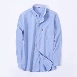 Wholesale Oxford Shirts Clothing - Wholesale- Men's Oxford Shirt Business Casual Social Shirts Turn-down Collar Men's Long Sleeve Dress Shirt Brand Men Clothing Denim Shirts