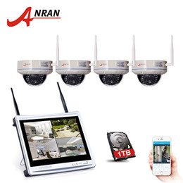 Wholesale Ir Dome Wifi Security Camera - ANRAN 4CH 12 Inch LCD NVR Security Camera System 720P HD IR Night Vision Dome Security IP Camera Wifi Surveillance System 1TB HDD Optional