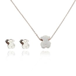 Wholesale Cute Anniversary Gifts - TL Stainless Steel Bear Jewelry Set 2 Colours Gift For Women High Quality Never Fade Cute