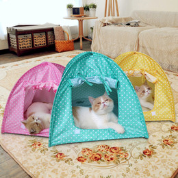Wholesale Toys Tent House - 43*43*41Cm Dogs Toy Foldable Dog Tent Puppy Kitten Small House Dot Pattern Easy Washing Anti-Mosquito Green Pink Yellow Pet Supplies