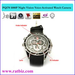 Wholesale Spy Watch 16g Ir - 16GB memory Built-in 1080P Night Vision hidden Camera Watch with Voice-Activated Recording Video IR camera full HD1920*1080P spy cames PQ170
