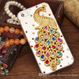 Capa de telefone strass peacock on-line-Para iphone 6 rhinestone diamante pavão crystal case moda bling transparente telefone celular capa protetora shell telefone para iphone 6 plus 6 s