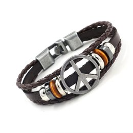 Wholesale Silver Plated Peace Signs - Retro Alloy Peace Sign Cowhide Bracelets for Men Punk Leather Bracelet Beaded Charm Bracelets Fashion Jewelry Hand Accessories