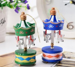 Wholesale Horse Ornaments - Hot Merry Christmas Wood Carousel Horse Ornaments Mini Xmas Children Gift Toys New Year Christmas Gifts Pendant