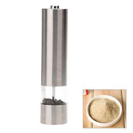 Elektrischer lichtstahl online-Edelstahl Portable Elektrische Pfeffermühle Muller Pfeffermühle mit Licht Gewürz Schleifen Küche Zubehör Werkzeuge