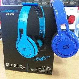 Wholesale Sms Street Dj Headphones - 50 Cent Noise Cancel Headphone Gaming Bike Frame Headset DJ Apple Iphone Earphone Headphone 50cent SMS Audio STREET SM-818