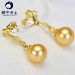 Wholesale Cheap Big Pearl Earrings - south sea water akoya pearl Silver Dangle earrings Big Size 7-8mm golden YSEAG007 Cheap earring color