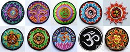 Wholesale Ironing Motif Wholesale - Free Shipping! 10 kinds of yoga lotus retro hippie applique iron-on patch iron on applique motif, garment embroidery Biker DIY