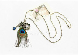 Wholesale Peacock Feathers Jewelry - Retro Beautiful Peacock Feathers Long Sweater Chain Peacock Feather Crystal pendant Peacock Feather chain Jewelry DHL