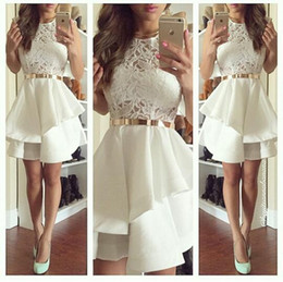 Wholesale Cute Short Mini Skirts - Cute Ivory Custom Made 2016 Homecoming Dresses Ruffle Crew Neck Organza Skirt Layers Short Prom Party Dress A Line Lace Evening Gowns BO8724