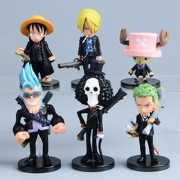 figuras de ação de uma peça zoro Desconto Anime One Piece Mini Figuras de Ação Os Chapéus De Palha Luffy / Roronoa / Zoro / Sanji / Chopper Figura Brinquedos