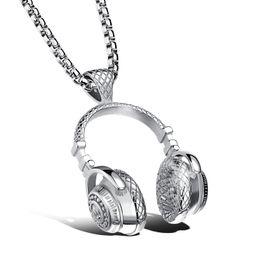 Wholesale Headphone Style Man - Headset Design Pendant Men Necklace Hip-Pop&Puck Style Box Link Chain 316L Steel Music Carnival Headphones Jewelry GX1100
