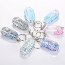 Wholesale Ring Pillars - Bling Dynamic quicksand Transparent Key Chain Ring Floating Liquid Clear Crystal Quick Sand Car Accessories Holder Gift Heart Star Keychain