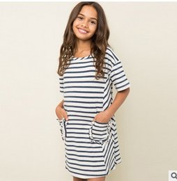 Wholesale Kids Pocket Dress - Autumn Big Girls Dresses Fashion Stripe Cotton Shorts Sleeve Children Party Dress pocket Casual Kids Dress 6983