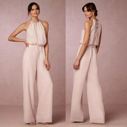 Wholesale jumpsuits images - 2018 Latest Pearl Pink Chiffon Pant Suit Bridesmaid Dresses Long Cheap Halter Floor Length Maid Of Honor Gowns Jumpsuits Custom Made