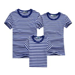 Wholesale Shirt Mother Daughter - Wholesale-2016 Summer Navy Style Father Mother Daughter Son Shirts Clothes Blue Striped Cotton Matching Family Outfits Age 2-12