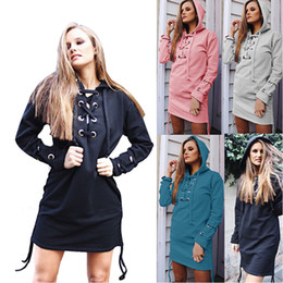 Wholesale Pullovers Cross - Autumn Winter Women's Fashion Long Sleeve Sweatshirt Dress With Cross Lace Up Hooded Hoddies Women Outwear LX3637