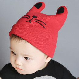 Wholesale Newborn Crochet Hats For Boys - Newborn Baby Crochet Hats Cartoon Cat Caps Cotton Material Four Colors Baby Kids Girl Boy Knitted Caps for Winter