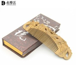 Wholesale Sandalwood Carvings - Natural green sandalwood comb free shipping wholesale carving dragon comb antic-static comb head massage health care comb for women