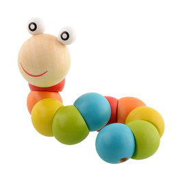 Wholesale Diy Infant Toys - DIY Baby Child Polished Snake Worm Twist Caterpillars Colorful Wooden Wood Toy Developmental Infant Educational Gift Transformer