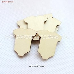 "Wholesale Wooden Ornaments Bulk - (120pcs lot) 40mm Blank Natural Wooden Little Suit Baby Shower Favor Ornaments Bulk 1.6""-CT1191"