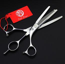Wholesale Used Hair Scissors - 639# 6'' Brand Purple Dragon TOP GRADE Hairdressing Scissors JP 440C Double Use Cutting Scissors Thinning Shears Hair Scissors
