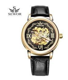 Wholesale Popular Belt Brands - SEWOR Fashion Popular Brand Men Skeleton Watch Classic Automatic Mechanical Watch Gold Dial PU Leather Men Sport Watches Black