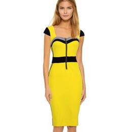 2016 Estate New Square Neck dress OL slim aderente bodycon abito al ginocchio a matita abito giallo manica corta da lunghezza ginocchio casuale abiti gialli fornitori