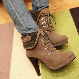Wholesale Army Heels - The New Autumn and Winter Boots High Heel Short Boots Womens Fashion Warm Martin Boots
