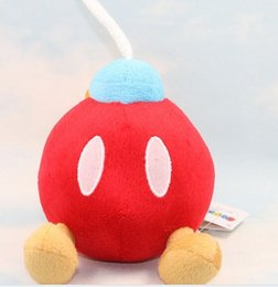 Wholesale Mario Plush For Free - Wholesale-1pc 14cm Cute Super Mario Bros Soft Plush Bomb Toy 5inch Dolls For Children Black Red Free Shipping