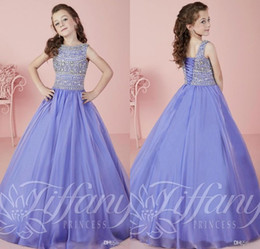 Wholesale Toddlers Evening Dresses - Lavender Princess Beading Crystal Girls Pageant Dresses for Teens Custom Made Floor Length Kids Evening Prom Dresses Toddler Pageant Dresses