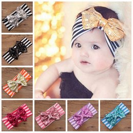 Wholesale Striped Headbands - Girls Hair Bands Baby Striped Headbands with Sequins Bowknot Children Hairband Elastic Kids Headwear Baby Girls Hair Accessories Handmade