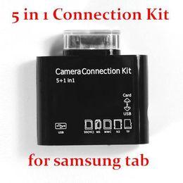 "Wholesale Sd Card Camera External - 100pcs lot 5 in 1 Camera Connection Kit USB OTG TF SD Card Reader For Samsung Galaxy Tab 10.1 7"" P7500 P5100 P6800 P3100 Tab 2"