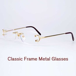 Wholesale Fixing Screws - High quality eyeglasses rimless frame metal legs double screw fixed mirror mens prescription glasses womens optical frames with original box