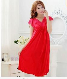 Wholesale Girls Sexy Night Dress - Wholesale-Free shipping women red lace sexy nightdress girls plus size Large size Sleepwear nightgown night dress skirt Y02-4