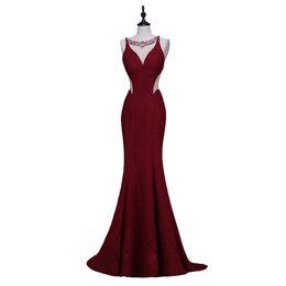 Wholesale Wine Color Evening Dress - Newest Finove Wine Red Long Elegant Memaid Evening Dresses 2016 Sexy Party Vestidos De Festa Beads Black Prom Dresses quinceanera dress
