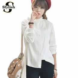 Wholesale Womens Office Cotton Shirts - Blouse Shirt Women Cotton Linen 2017 New White Shirts Female Long Sleeve Elegant Ruffled Neck Office Ladies Tops Womens Clothing