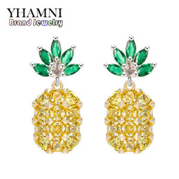 Wholesale Drop Crystal Diamond Stud Earring - YHAMNI NEW Yellow Crystal Fruit Pineapple Earrings Bridal Large Drop Earrings Natural Crystal Jewelry For Women E4455