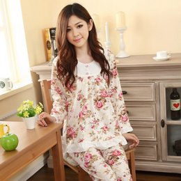 910b596787 Wholesale- 2XL 3XL women long-sleeve cotton sleep pajama sets female  nightwear lady floral Pyjamas nightgowns teenage pijamas sleepwear