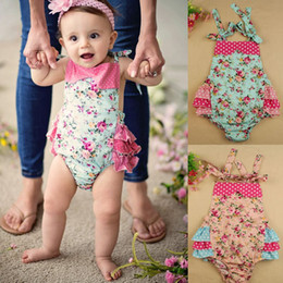 Wholesale Shirt Bloomers - 100% Cotton Baby Flora Rompers With Headband Girl Bloomer Ruffle Kids Shirt Flowers Sunsuit Baby Sleeper 4pcs(2pcs rompers+2pcs hair bands)