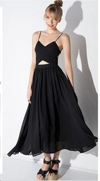 Wholesale Pictures Suspenders - 2016 Hot Sale Summer Party Sexy Halter Dress Suspenders Black Sleeveless Chiffon Dress Criss Cross Straps with Spaghetti