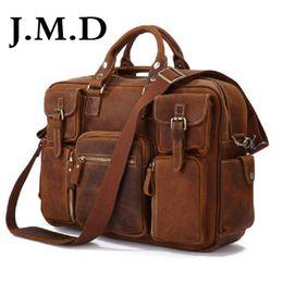 Wholesale Crazy Horse Leather Bags - Wholesale- J.M.D Hot Selling 100% Genuine Leather Rare Crazy Horse Leather Men's Briefcase Laptop Bag Tote Bag Shoulder Messenger Bag 7028