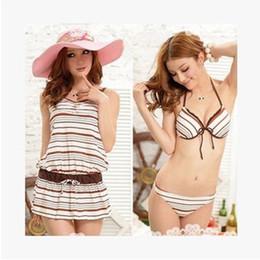 Wholesale High Waist Swimsuit Small - Ms. bikini small chest gather steel prop split three-piece swimsuit