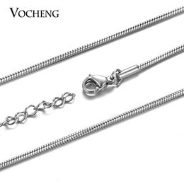 Wholesale Handmade Stainless Steel Jewelry - VOCHENG Stainless Steel Snake Chain Necklace 40cm 45cm Thickness 1.5mm with Lobster Clasp Handmade Jewelry VC-246