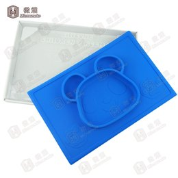 Wholesale Recycled Tables - Kids Table Placemats 2016 Recycled Food Grade Panda Shape Silicone Placemat for kids One piece Silicone Plates -F023