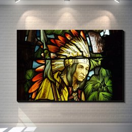 Wholesale Pos Single - Stained glass window native american indian posters painting pictures print on the canvas,Home Wall art decoration retro canvas painting pos