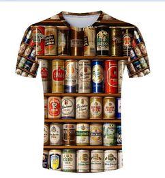 moda masculina casual vestuário Desconto Hot Vendas Hip hop T shirt Homens 3D Empilhados Garrafas De Cerveja Latas Moda Casual Em Torno Do Pescoço de Verão Masculino Tees Roupas de Manga Curta